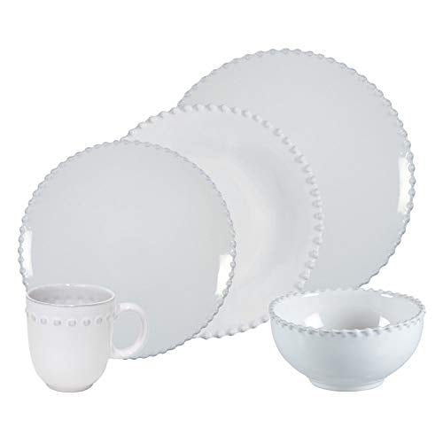 Costa Nova Pearl Collection Stoneware Ceramic 30-Piece Dinnerware Set (Service for 6), White