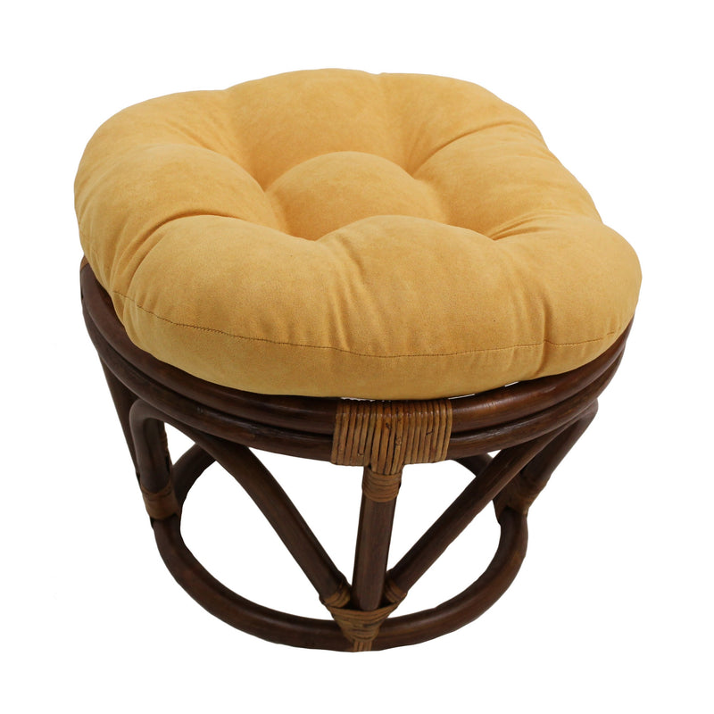 Rattan Ottoman with Micro Suede Cushion -Lemon