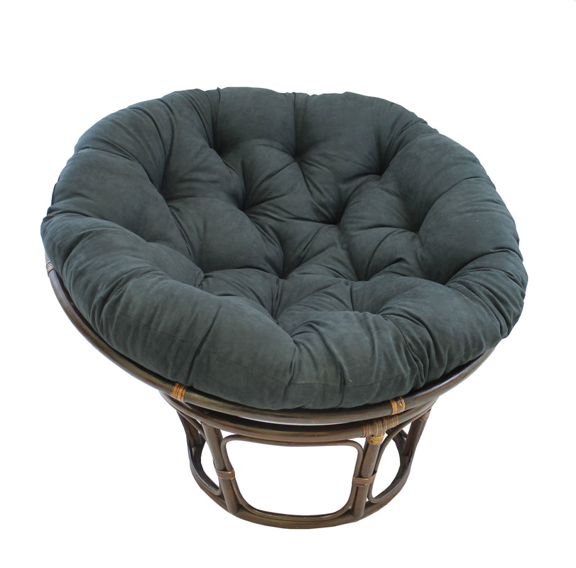 Rattan 42-Inch Papasan Chair with Micro Suede Cushion -Black