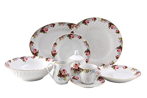 Philomena Dinner Set 45pc with Gold Trim; Vintage Floral