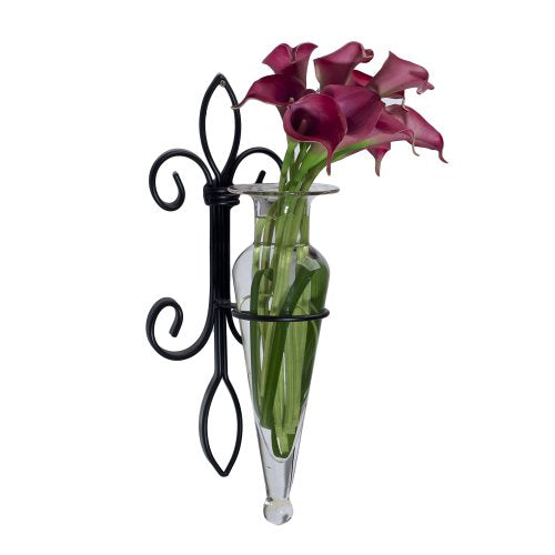 Danya B. A043-C Home Accent - Wall Mount Fleur de Lis Flower Vase Sconce - Iron and Clear Glass