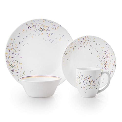 Corelle 3226 Autumn Dance Chip & Break Resistant 16pc Dinner Set, Service for 4, Vitrelle glass