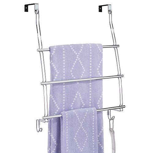 mDesign Modern Decorative Metal Wire Over The Door Towel Rack Holder Organizer with Hooks - for Storage of Bathroom Towels, Washcloths, Hand Towels, Loofahs and Sponges - Chrome