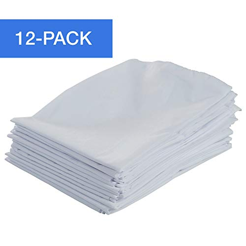 "ECR4Kids 12-Pack Standard Cot Sheet with Elastic Straps, Standard Size Daycare and Preschool Cot Sheets for Rest Time, 50.5"" x 21.75"" - White"