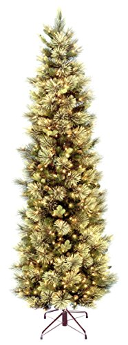 9' Carolina Pine Slim Tree with Flocked Cones & 800 Clear Lights
