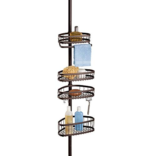 InterDesign York Metal Wire Tension Rod Corner Shower Caddy, Adjustable 5'-9' Pole and Baskets for Shampoo, Conditioner, Soap with Hooks for Razors, Towels Bronze