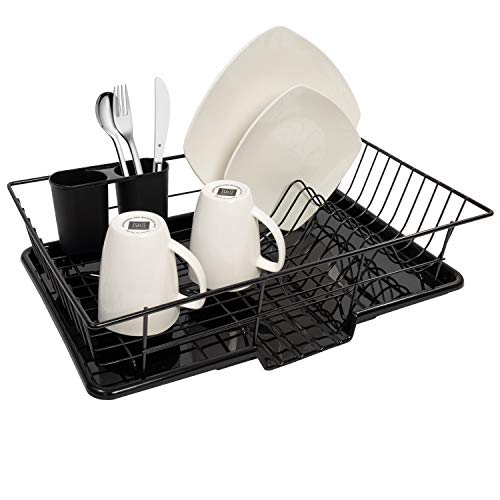 "Sweet Home Collection 3 Piece Rack Set Dish Drainer Drain Board and Utensil Holder Simple Easy to Use, 12"" x 19"" x 5"", Black"