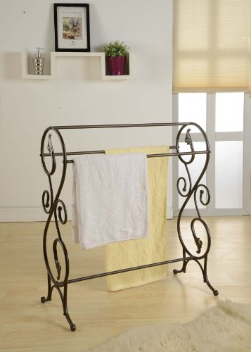 King's Brand 1410 Antique Style Pewter Finish Towel Rack Stand