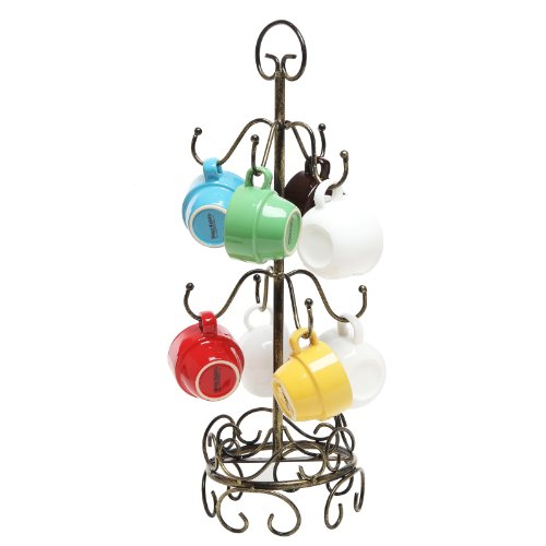 MyGift 8 Hook Bronze Metal Coffee Mug Tree Air Drying Stand/Tea Cup Rack/Glass Holder
