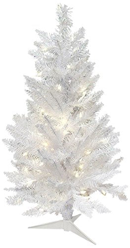 Vickerman Spruce Sparkle White Christmas Tree with 100-Pure White Italian LED, 3.5-Feet