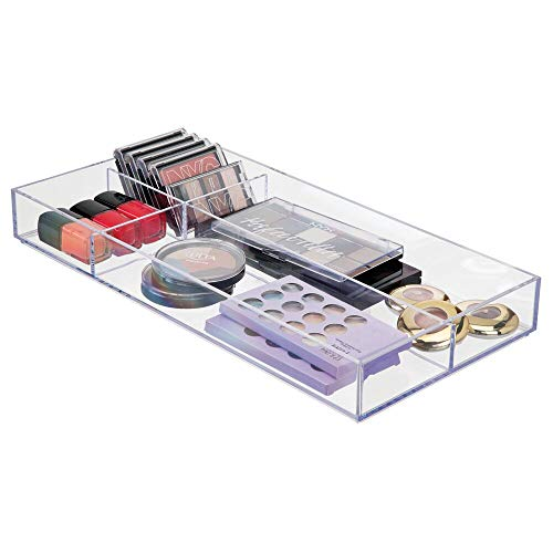 "mDesign Plastic Divided Makeup Organizer for Bathroom Drawer, Vanity, Countertop - Storage Bin for Makeup Brushes, Eyeshadow Palettes, Lipstick, Lip Gloss, Blush, Concealers - 16"" Long - Clear"
