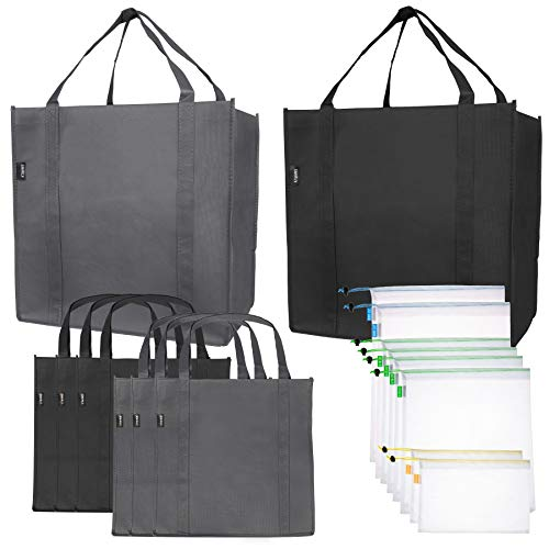 Reusable Folding Grocery and Produce Bags: 6 Large Fabric Totes with Handles and Inner Pocket and 9 Eco Friendly Breathable Mesh Produce Bags - Foldable Cloth Shopping Tote and Mesh Bag Set - 15 Pack