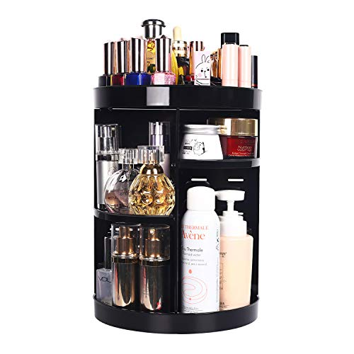 360 Degree Spinning Makeup Organizer, sanipoe Adjustable Makeup Carousel Round Rotating Storage Stand Rack, Large Capacity Ondisplay Shelf Cosmetics Organizer, Best for Countertop and Bathroom, Black