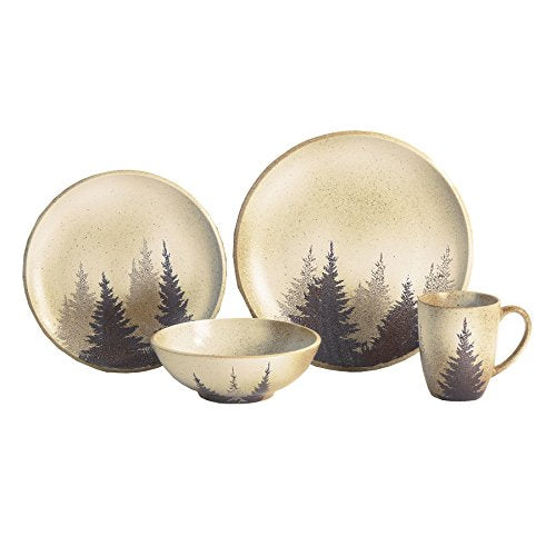 HiEnd Accents DI1763 Clearwater Pines Dinnerware Set, 16 Piece, Multicolor