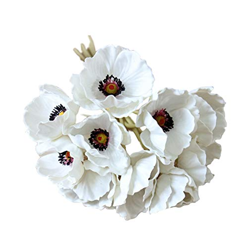 10 Stems Artificial Poppies Real Touch PU Fake Latex Flowers for Wedding Holiday Bridal Bouquet Home Party Decor (White)