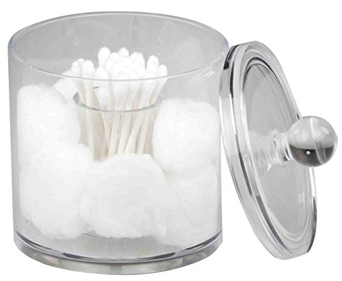 Home Basics Acrylic Cotton Ball and Swab Holder, Q-tip Storage Organizer, Clear