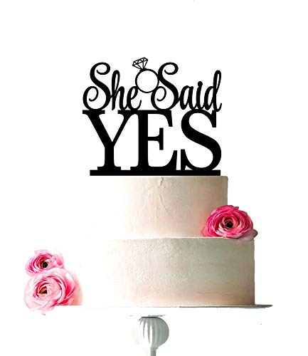 [USA-SALES] She Said Yes Cake Topper, Bridal Shower, Engagement Party Decoration, by USA-SALES Seller
