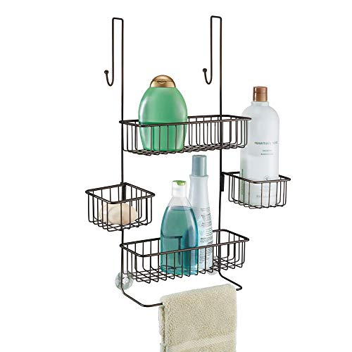 "InterDesign Metalo Bathroom Over the Door Shower Caddy with Swivel Storage Baskets for Shampoo, Conditioner, Soap 10.5"" x 8.25"" x 22.75"" Bronze"