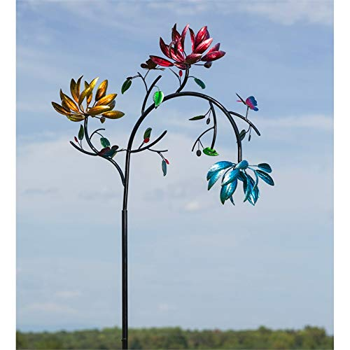 Evergreen Garden Mesmerizing Floral Metal Kinetic Wind Spinner - Sized to Make a Statement! 91 inches