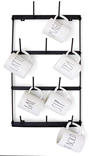 Claimed Corner Mini Coffee Mug Rack - 4 Row Metal Wall Mounted Storage Display Organizer for Coffee Mugs, Tea Cups, Mason Jars, and More.