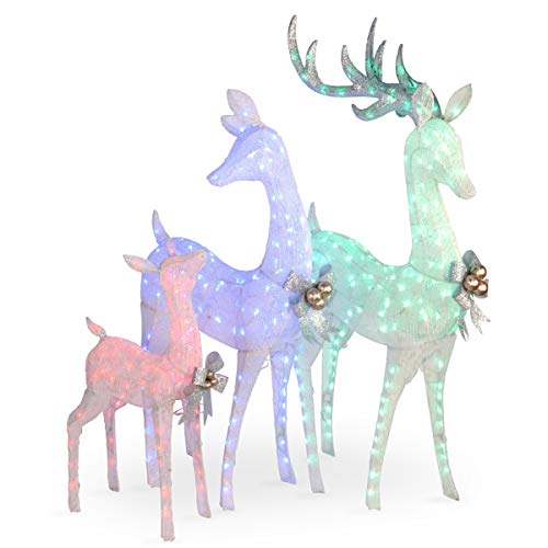 "60"", 52"" & 35"" Glittered Deer- family of 3 with 340 Multi color LED Lights"