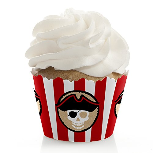 Beware of Pirates - Pirate Birthday Party Decorations - Party Cupcake Wrappers - Set of 12