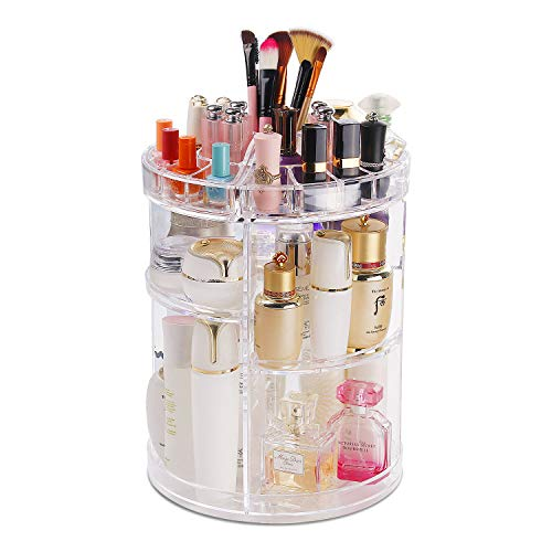 COOLBEAR Makeup Organizer,360 Degree Rotating Adjustable Acrylic Cosmetic Storage Display Case with 6 Layers Large Capacity, Fits Creams, Makeup Brushes, Lipsticks and More, Clear Transparent