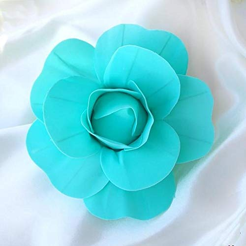 "Efavormart 6 Pack 8"" 3D Craft Rose Turquoise Real Feel Foam Rose for Wall Backdrop Centerpieces Arrangement Party Home Decor"