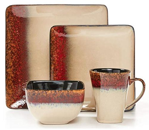 Red & Gold Square Dip-Dye 16-Piece Dinnerware Set