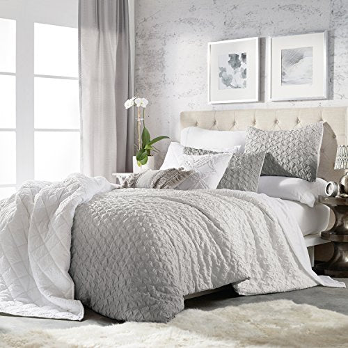 CHF Ombre Honeycomb Microsculpt Comforter Set with Shams, Grey
