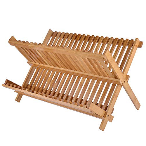 "Bamboo Dish Drying Rack, SZUAH Collapsible Dish Drainer, Foldable Dish Rack Bamboo Plate Rack, By 100% Natural Bamboo (17.5"" x 13"" x 9.6"") …"