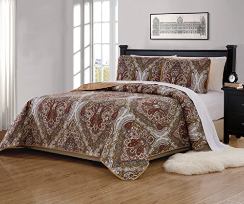 Mk Home 3pc King/California King Bedspread Quilted Print Floral White Brown Green Reversible Taupe Over Size New # Portia 66