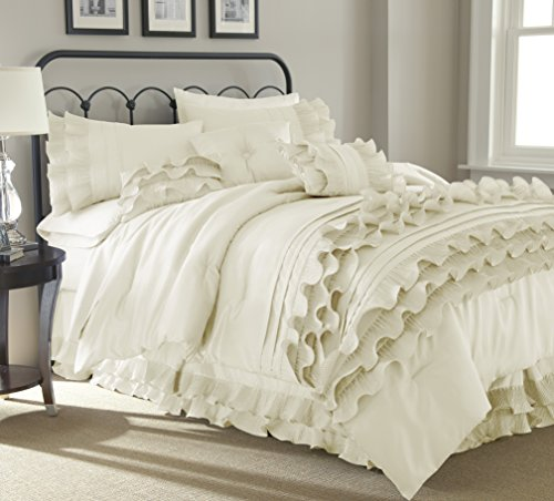 Amrapur Overseas Diana 8-Piece Embellished Comforter Set, Queen, Pearl White