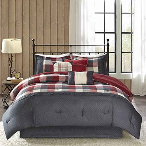 Madison Park Ridge Queen Size Bed Comforter Set Bed in A Bag - Red, Plaid - 7 Pieces Bedding Sets - Ultra Soft Microfiber Bedroom Comforters