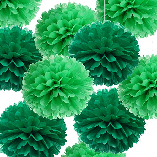 14 Green Tissue Pom Poms Kit DIY Decorative Paper Flowers Ball for Birthday Party Wedding Baby Shower Home Outdoor Hanging Decorations, Pack of 10