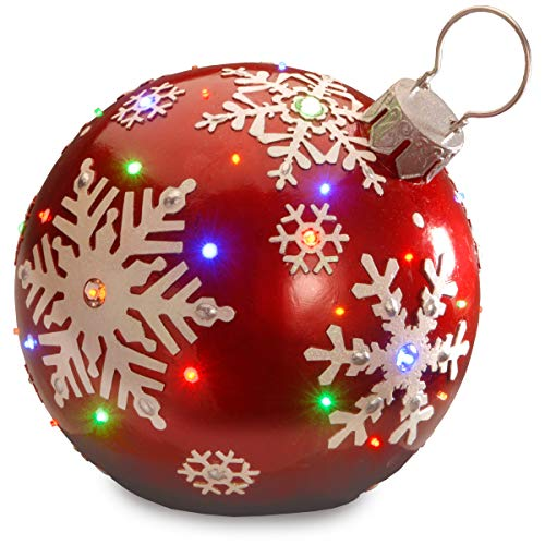 "18"" Red Jeweled Ornament with Snowflake Design & 24 Multi LED"