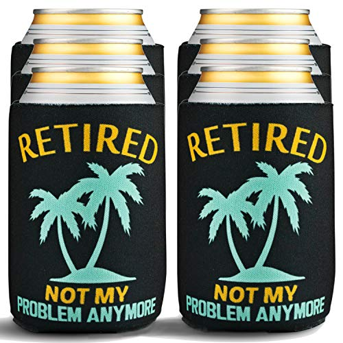 Retirement Gifts for Men Funny - 6-Pack of Premium Can Coolers - Beer Sleeves for Retirement Gifts for Women or Retired Gifts for Men - 6 Beer Cooler Insulated Sleeves, Black with Palm Tree Design