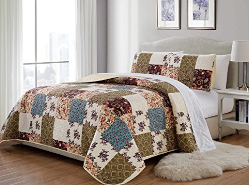Mk 3pc King/California King Home Bedspread Quilted Print Floral Beige Burgundy Purple Blue Taupe Over Size New # Milano 62