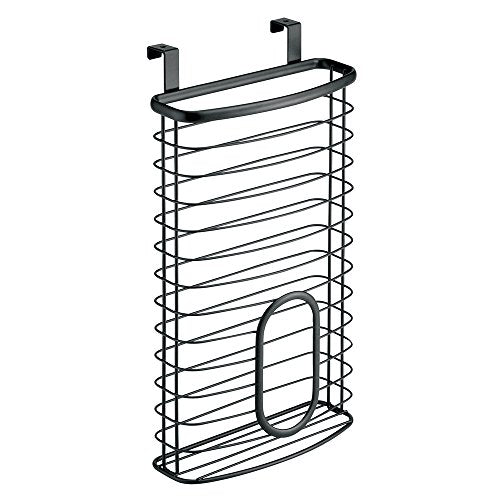 InterDesign Axis Over the Cabinet Kitchen Storage Holder for Plastic and Garbage Bags - Matte Black