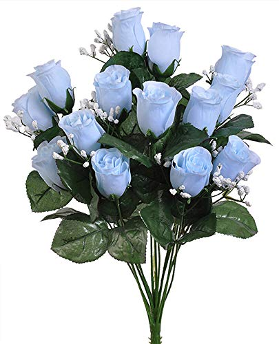 14 Light Baby Blue Roses Buds Lovely Long Stem Silk Wedding Flowers Bride Bouquets