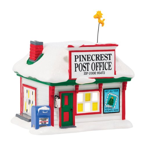 Department 56 Peanuts Village Pinecrest Post Office Lit House, 5.31 inch