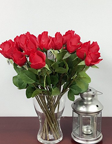 "1 Dozen (12pc) of Real Touch Quality Artificial Rose Bud - 16""long (Red)"