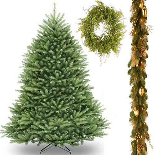 "6' Dunhill Fir Tree with 6' x 12"" Decorative Collection Elegance Garland includes LEDs and Garden Accents 22"" Hotag/Berry Wreath"