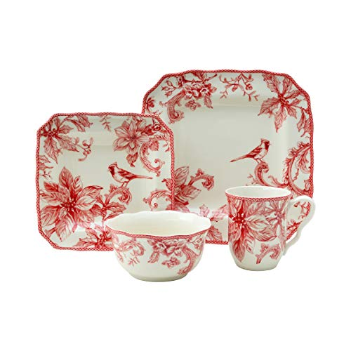 Christmas Lane Red 16 Piece Dinnerware Set
