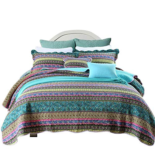 HNNSI Bohemian Quilt Comforter Sets Queen Size 3 Piece, Cotton Boho Bedspread Sets Exotic Bohemia Bedding Sets