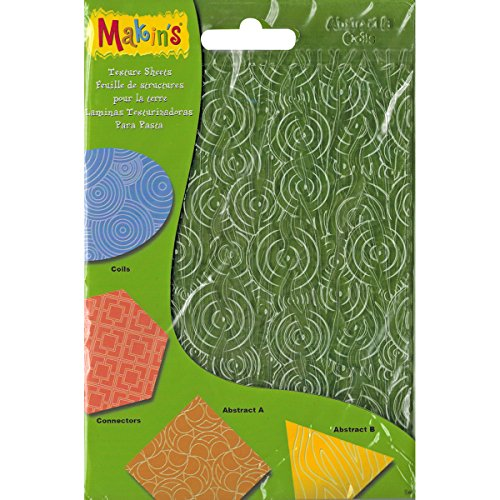 "Makin's USA Makin's Clay Texture Sheets 7""X5.5"" 4/Pkg-Set H (Coils, Connectors & Abstracts)"