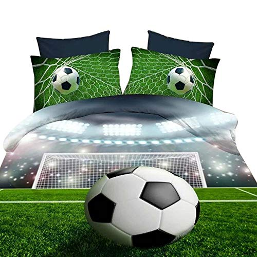 Alicemall 3D Football Bedding Green Lightweight Microfiber Soccer Prints 4 Pieces Kids Sports Duvet Cover Set Full Size, No Comforter