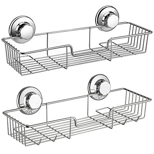 SANNO Shower Caddy,Strong Suction Cup Bathroom Shower Caddies,Bath Shelf Storage Combo Organizer Basket, Kitchen & Bathroom Accessories for Shampoo Conditioner - Rustproof Stainless Steel(Set of 2)