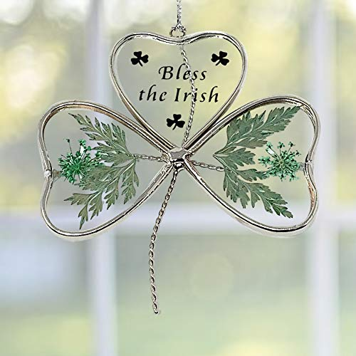 BANBERRY DESIGNS Irish Sun Catcher - Glass Shamrock Shaped Suncatcher with Green Pressed Flowers - Bless The Irish Printed on Front - 4-Inch