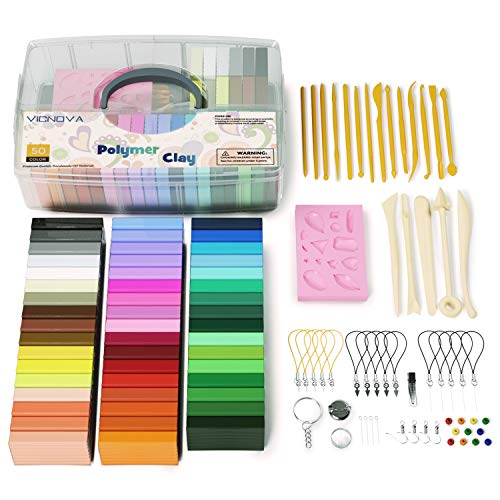 50 Colors Polymer Clay, Modeling Clay with 29 Clay Tools and Accessories, Starter Kit Clay for Kids, Non-Stick, Non-Toxic, Ideal DIY Gift for Kids